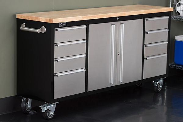 Trinity Stainless Steel Rolling Rubberwood Top Workbench