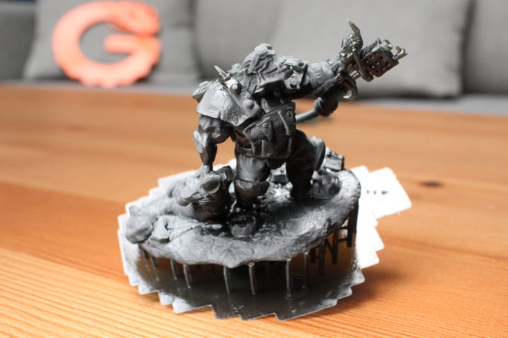 elegoo mars ork print support partially removed and illuminated