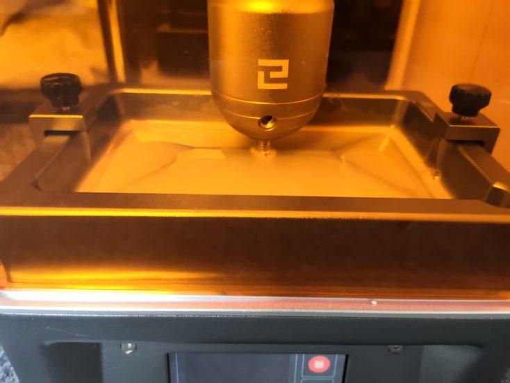 elegoo mars 3d printer during the printing process
