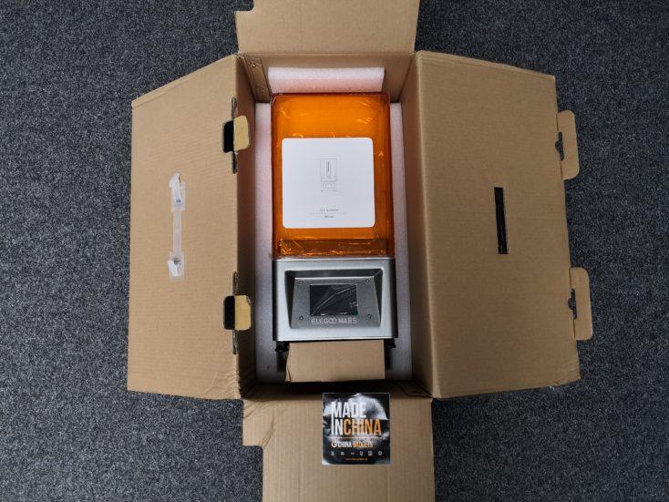 elegoo mars 3d printer with opened packaging
