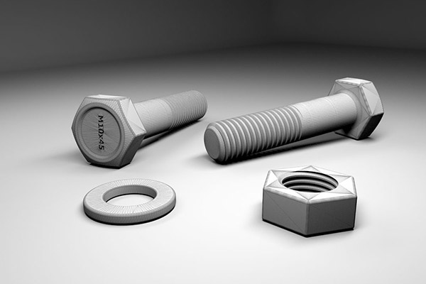 image of 3d screws, nuts and washer 3d models