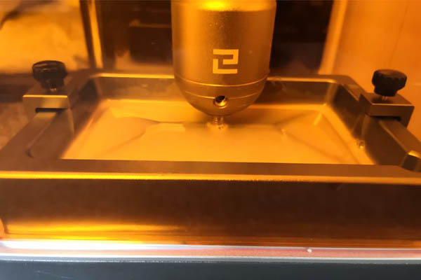 elegoo mars 3d printer during the printing process