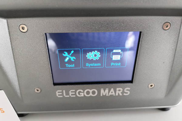 elegoo mars 3d printer menu items