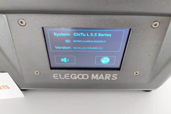 elegoo mars 3d printer system information