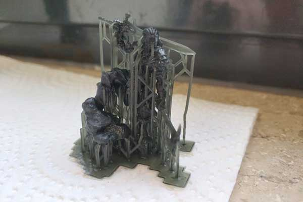 elegoo mars pro print barbarian with support structures